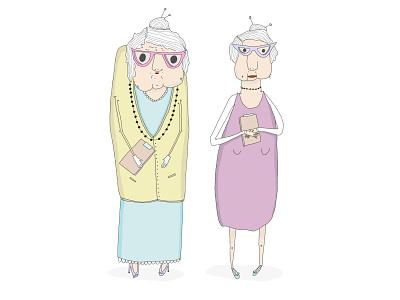 Renée en Josée characterdesigns madeinantwerp illustracion oldlady granny sketch illustrator drawing illustration