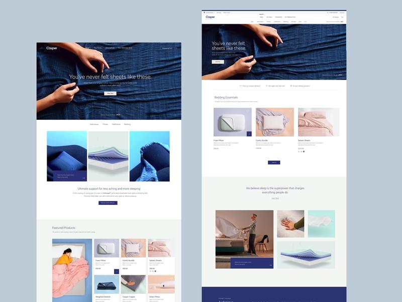 Casper 2.0 Homepage Design Concept brand design design direction. interface ux ui web design
