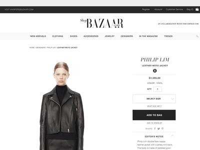 Shop Bazaar Product Page  UI