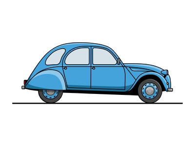 Citroen 2CV icon simple blue french car classic 2cv citroen