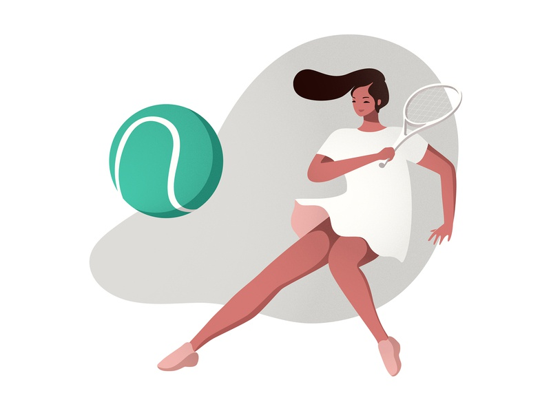 Tennis editorial illustration editorial vector art tennis ball health sport landing page woman vector illustration tennis