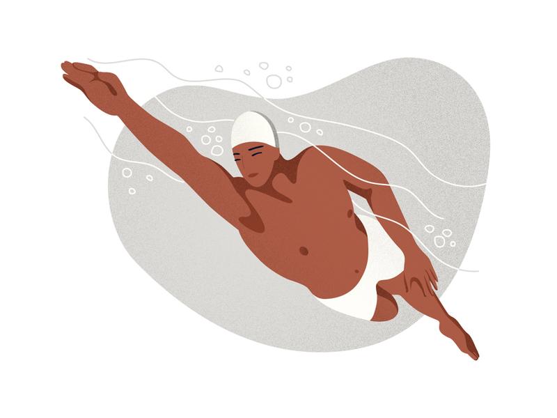 Swimming grain vector photoshop landing page sport health concept illustration illustration editorial illustration