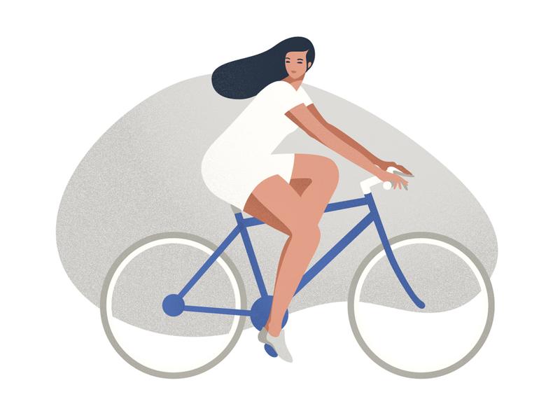 Biking sport girl biking grain vector photoshop landing page health illustration editorial illustration