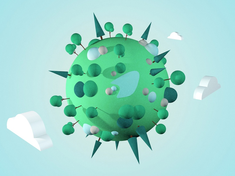 Green green world c4dart color clean green planet planet blue lake clouds trees hello world hello dribble illustration world green green world 3d art 3d cinema4d c4d