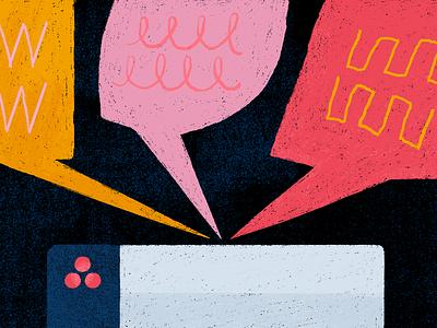 Track Feedback Article blah blah blah feedback a lot of customer word bubble photoshop bugs product illustration blog