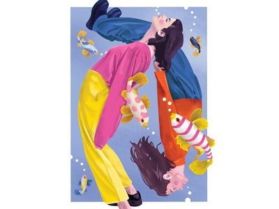 March fishes sleep fishing koi waterfall air breath deep water swim pisces fish style hair life color girl illustration