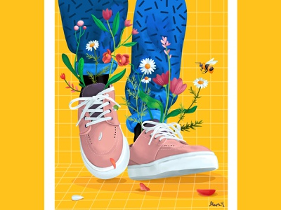 Spring in my step hipster leaves steps walk spring youth time plants greens pattern yellow bee green sneakers style bloom flowers life color illustration
