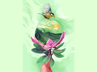 THE WORLD'S a bubble open space river sky petals sunrise clouds hand flower bird nature bloom bubble isolation life color illustration