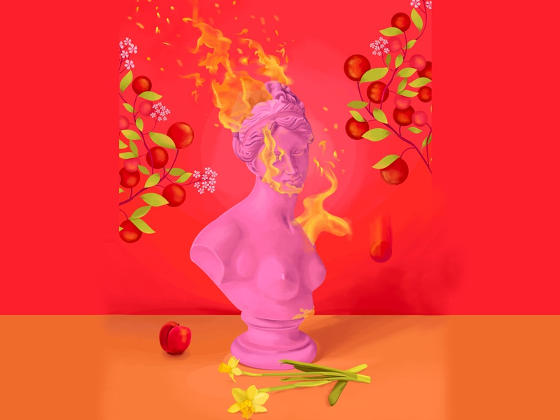 Venus on fire classical love spring flame pink marbel flowers blooms color sexuality womans greek god statue bloom peaches fire venus face portrait illustration