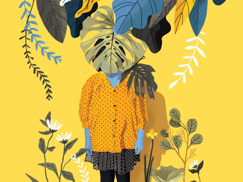 Eve in Yellow green nature forest hipster style spring woman garden event yellow fashion leaves bloom flowers color girl illustration