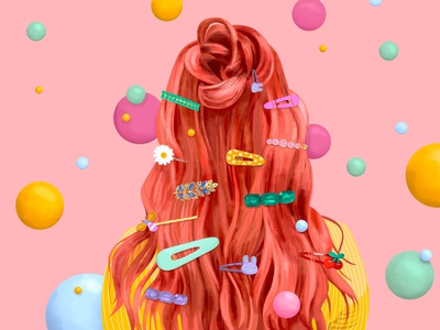 Hair Clips floating bun wavy portrait pearls accessories cherry bunny plastic feminine popart hairstyle red fashion style hair flowers color girl illustration