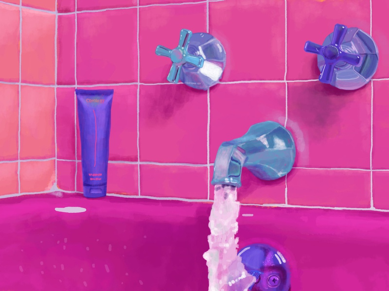 Pink Bathroom post modern shine metal artwork canvas technical light reflection tiles impressions adobe photoshop water oil paint bathroom bathtub pink life color illustration art