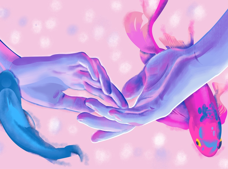 Pisces duality siblings conection koi fish sea ocean purple adobe photoshop adobe illustrator water light water artwork impressionism hands zodiac horoscope pisces fish color illustration