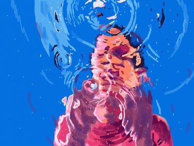 Through Water adobe photoshop deep bath bathtub hands glass prism circles impressionism abstract reflection water art life face color girl portrait illustration