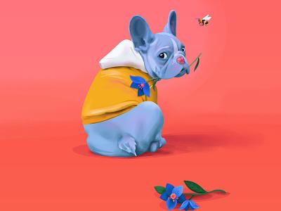 Blue Puppy color ears bloom flower hoodie portrait fluffy family love friend pet animal cute bee bulldog blue dog puppy illustration
