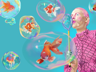 Air Swim style adobe illustration water face bubble rainbow fantasy dream blue blow soap girl gold goldfish color air swim pisces fish