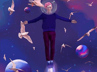 A Dream Traveler color graphic design geek astronaut twinkle shine planets float bird imagination sandman hipster fantasy dream night fly star space portrait illustration