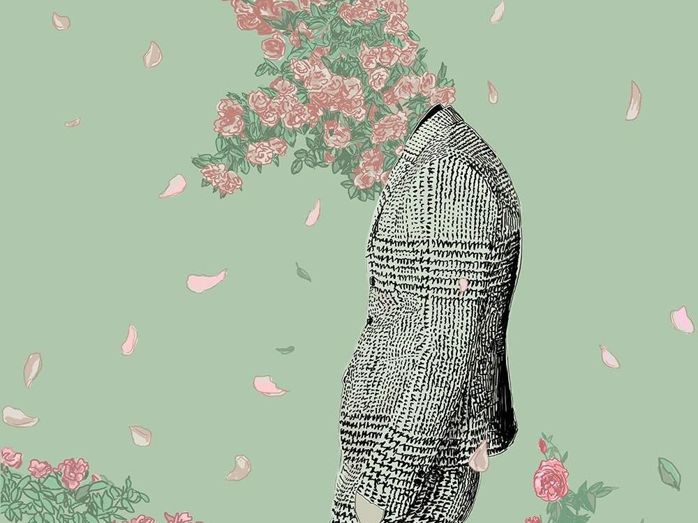 Blooming Soul style life garden in love flowers metaphor illuatration boy spring moment petals oscar wilde poetry roses suit dandy romantic soul bloom