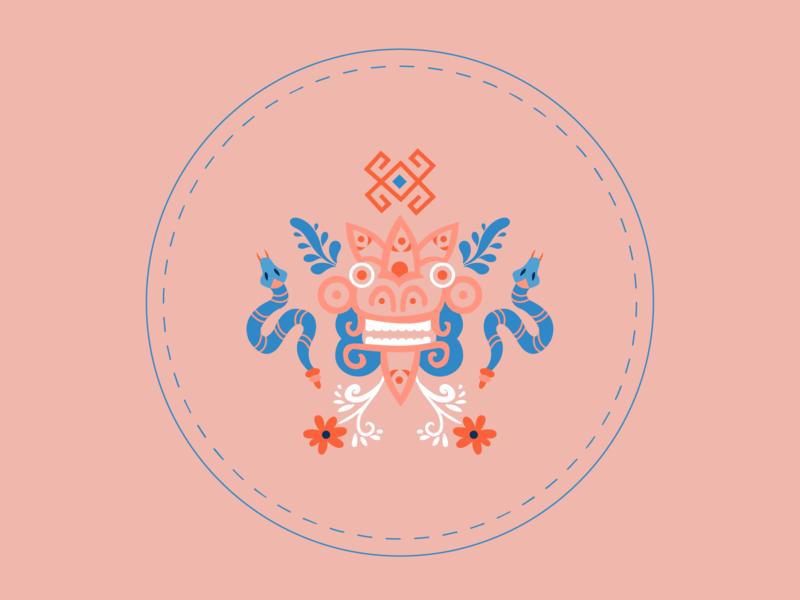 Kukulkan culture mythology native american maya mexican symbol flowers folkart folk illustration dragon snake kukulkan