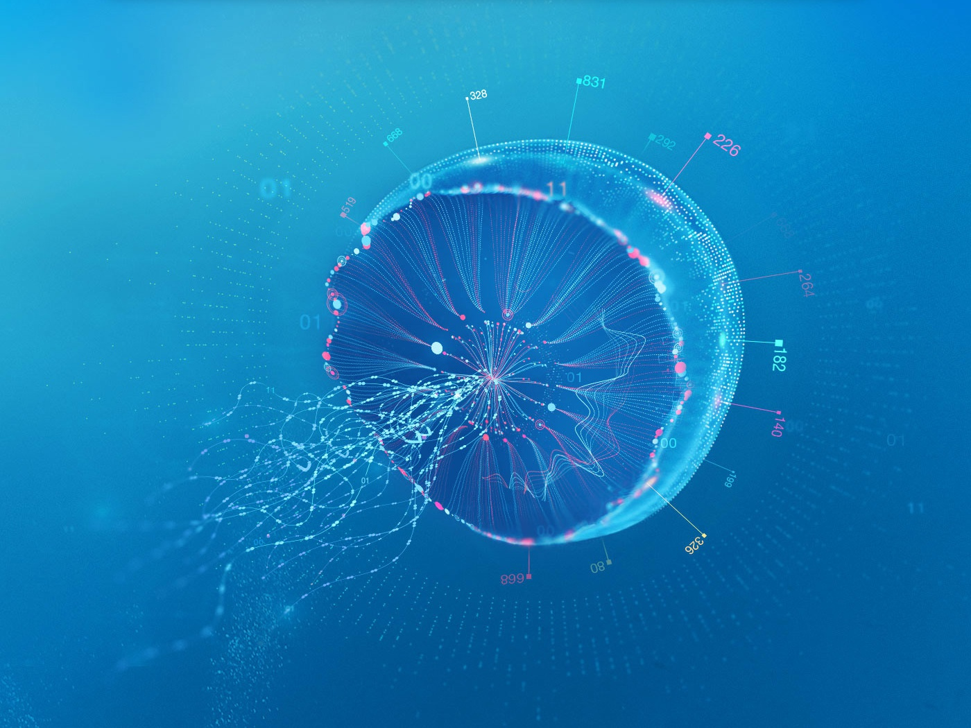 Data Creature glow numbers sea under the sea deep blue under art direction image making compositing creature jelly fish analitycs data analysis data ocean
