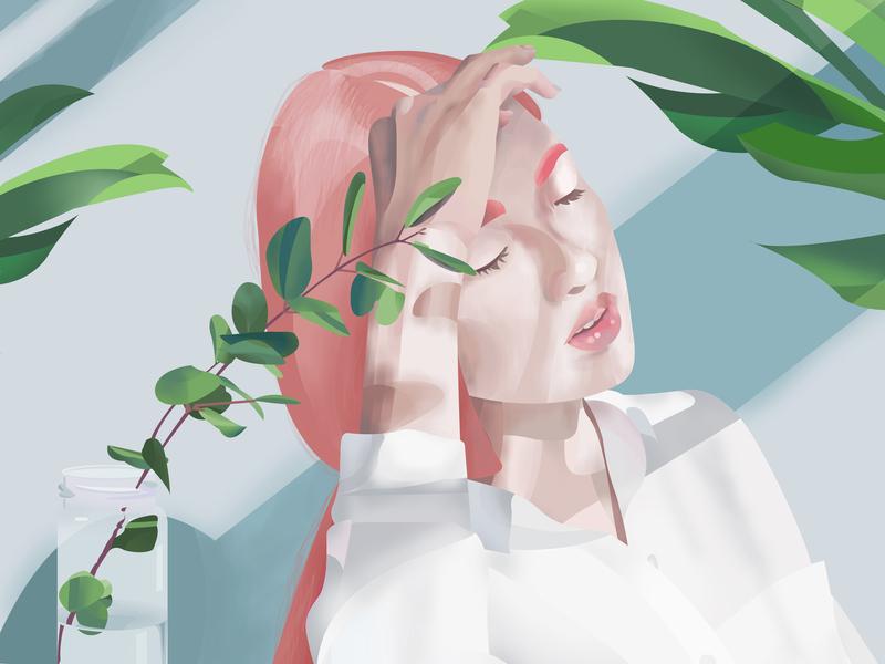 Morning sun woman human home shaddow hair shine time bright beautiful fragile pastel plant sun girl face portrait illustration