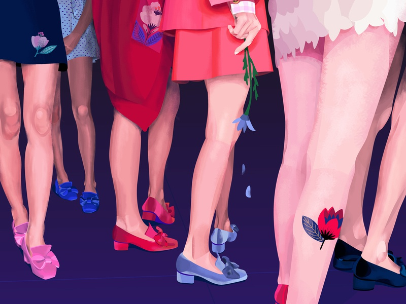 Petals human heels relationship past love life time fall shoes skirts flowers petals feelings woman fashion style design bloom girl illustration