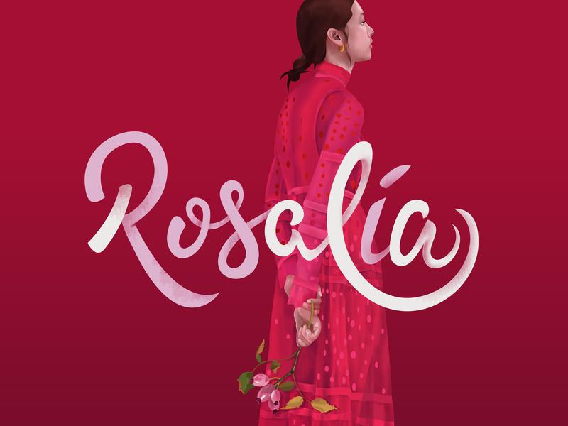 Rosalia rose fashion style monochrome type red dress lettering color bloom flowers girl face portrait illustration