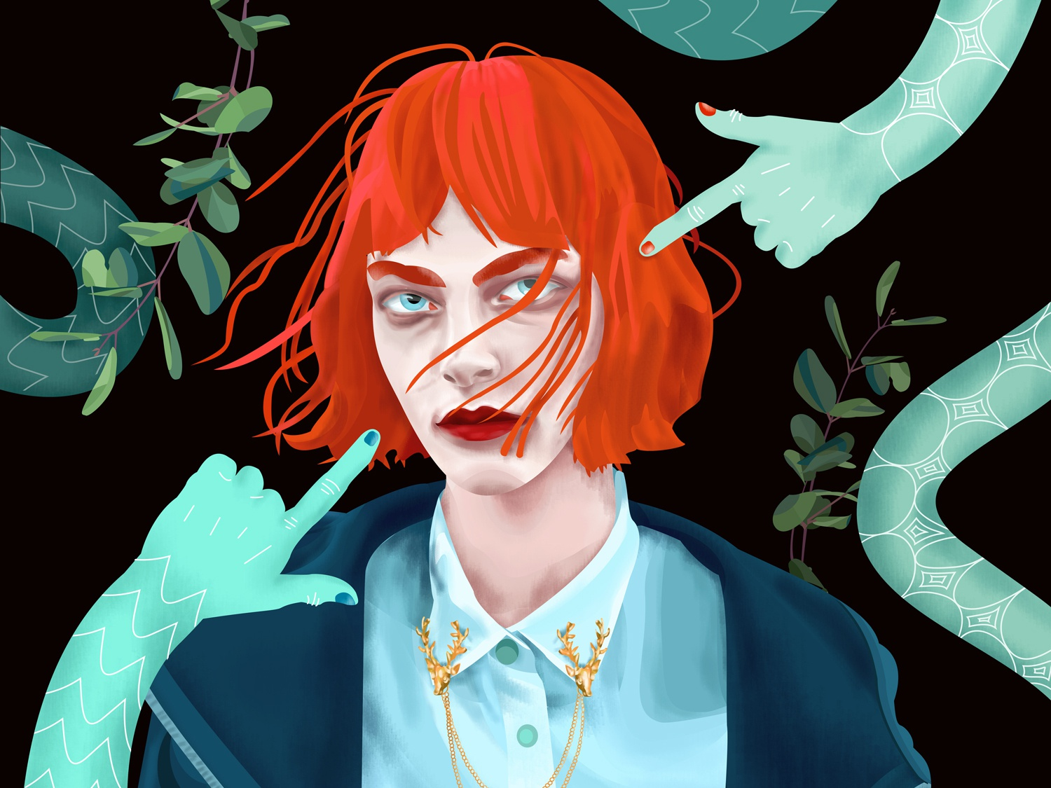 Snakes for hands guilty magic fashion geek fantastical wind life hair red pointing scales leaves anxiety hands snakes styled girl face portrait illustration
