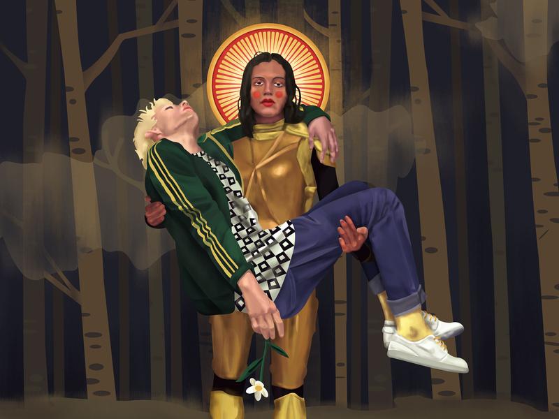 The Dark Forest style tile boy brave hero broken dark trees forest face gender saint couple love knight hair color flowers girl portrait illustration