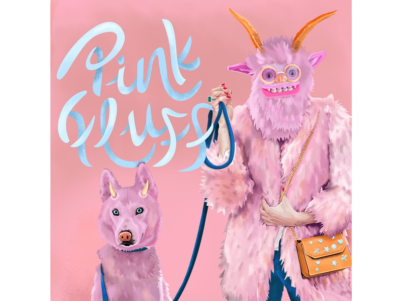 Twinsies illustration portrait color design vector dog owner lettering monster humor hair fluffy twins life pet horns style fashion furry pink