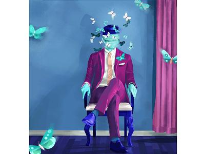 Mr. Shadow digitalart vector art style fashion suit room ghost magic monster creature nightmare man vectors dream design butterfly color face portrait illustration