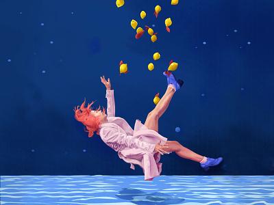 I woke up growing up nightlife fashion style painting sky water swim adult nightmare color dream waves sea falling lemon portrait hair girl illustration