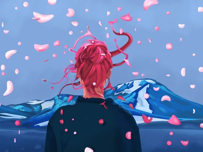 Blue Sky memory dream freedom fly particles fire snow red nature space wind art flame sky mountain hair color girl portrait illustration