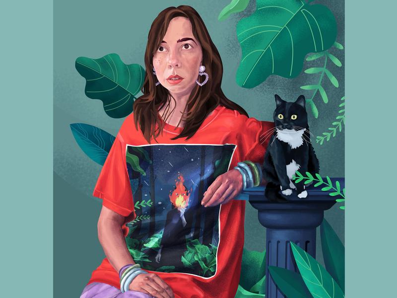 Self portrait :) designer hands jungle color vector self portrait hipster cat style leaves fashion bloom life hair illustration face girl portrait