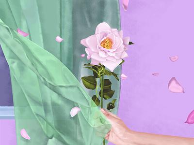 Summertime aroma beauty moment momentum death art hand transparent leaves life time summer plant bloom petals breeze rose window flowers illustration
