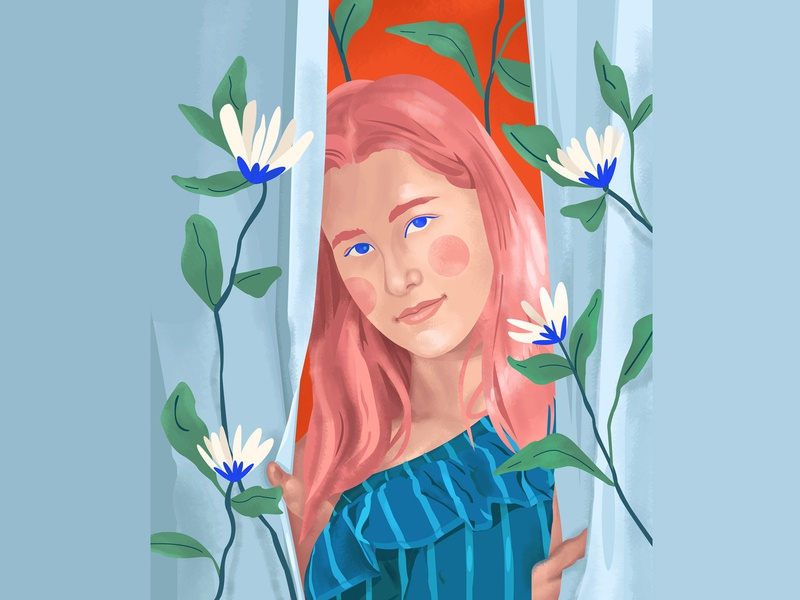 A girl with pink hair leaves bloom life hair flowers color girl face portrait illustration