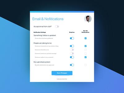 Settings UI Task 007 dailyui daily ui challenge ui emails notifications settings