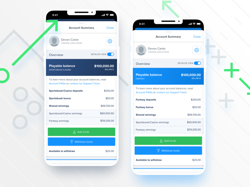 FanDuel Account Summary account summary overview balance profile money funds breakdown cash savings ui app design ios mobile