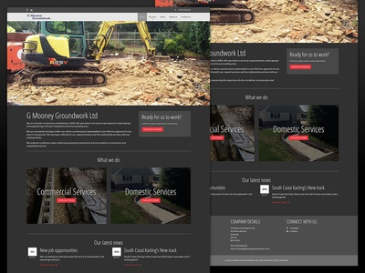 Website homepage for G Mooney Groundworks