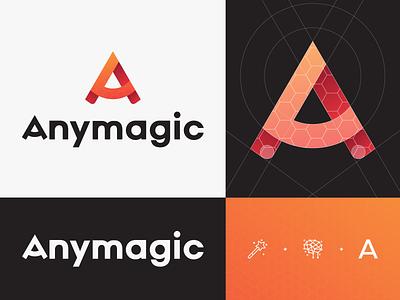Anymagic Logo grid logo motion inovation magic letter a design web icon branding typography logo