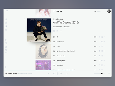 TIDAL White: Album playback screen flat white ux ui app desktop tidal player music