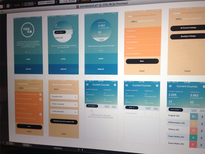 WIP College App mobile interface ui onboarding college courses grades app