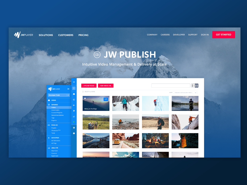 Cinematic Hero web design user interface template landing page hero background image product