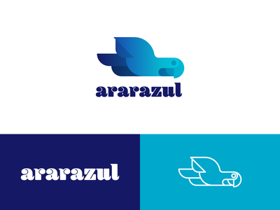 Ararazul blue arara blue bird amazonia logo animal brazil logo illustration design