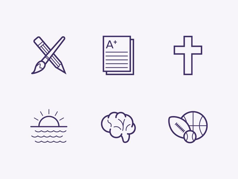 Delmarva Icon Set simple tints purple clean line art education whiteboard vector icons