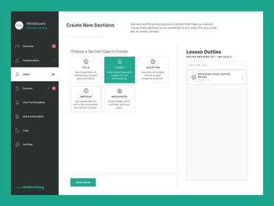 Understory - Lesson Builder app product content ux ui interface admin understory lesson course