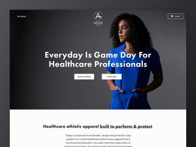 Aegle Gear - Site Launch apparel site web design commerce. whiteboard clothing athletic sport healthcare scrubs gear aegle