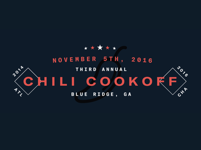 3rd Annual Chili Cookoff! food stars baseball dark blue red type logo cookoff chili