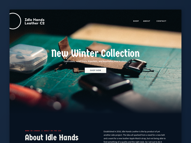 Idle Hands Leather Co. - Site Hero in progress sketch web design site shopping leather idle hands hero gradient ecommerce