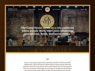 The Camp House - Site Launch button site layout merriweather shine web design coffee gold video web the camp house